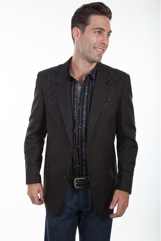 Scully Western Mens Black Polyester Floral Tone Embroidered Blazer