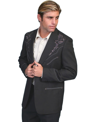 Scully Western Mens Charcoal Polyester Floral Tone Embroidered Blazer