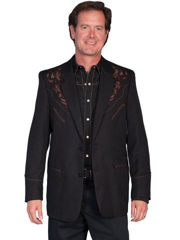Scully Western Mens Chocolate Polyester Floral Tone Embroidered Long Blazer