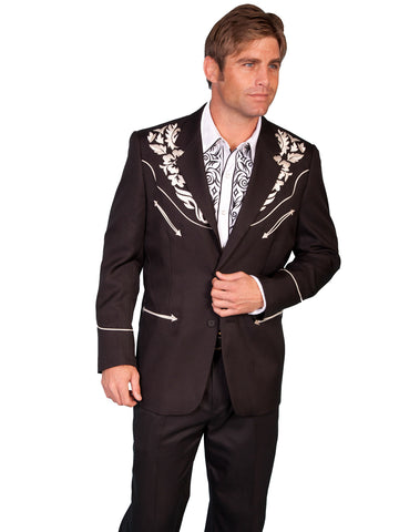 Scully Western Mens Silver Polyester Floral Tone Embroidered Long Blazer