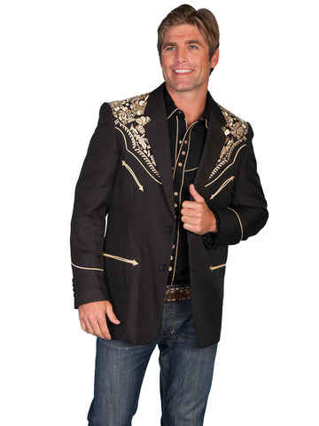 Scully Western Mens Gold Polyester Embroidered Big Floral Blazer