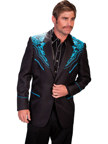 Scully Western Mens Turquoise Polyester Embroidered Big Floral Blazer
