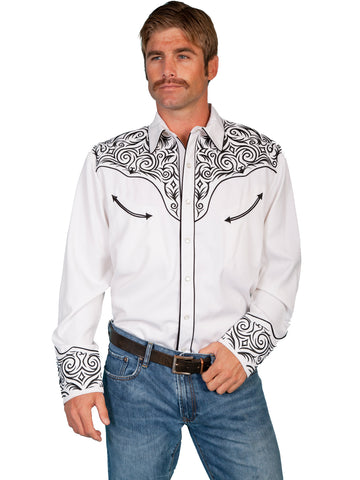 Scully Western Mens White Polyester L/S Scroll Embroidered Western Shirt