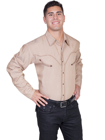 Scully Western Mens Tan 100% Cotton L/S Whipstitch Western Shirt