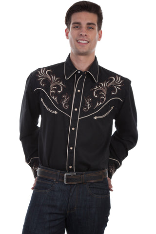 Scully Mens Black Poly/Rayon Floral Scroll L/S Shirt