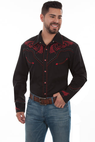 Scully Mens Black Poly/Rayon Red Scroll L/S Shirt