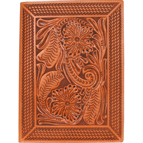 3D Natural Leather Pad Holder Floral Tooled Basketweave