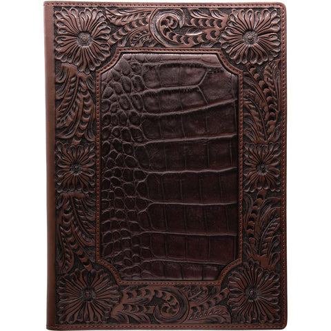 3D Chocolate Leather Pad Holder Floral Tooled Gator Print Inlay