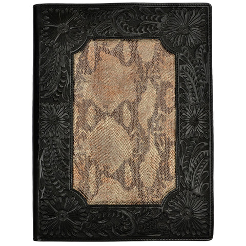 3D Black Leather Pad Holder Floral Tooled Snake Print Inlay
