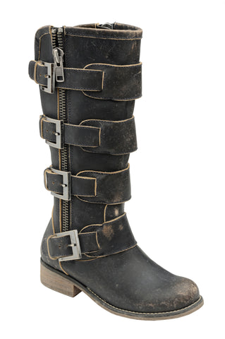 Circle G Ladies Strap Black Cowhide Leather Cowgirl Boots