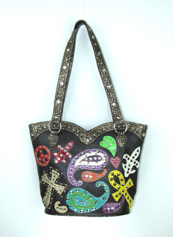 Savana Paisley Black Faux Leather Large Tote