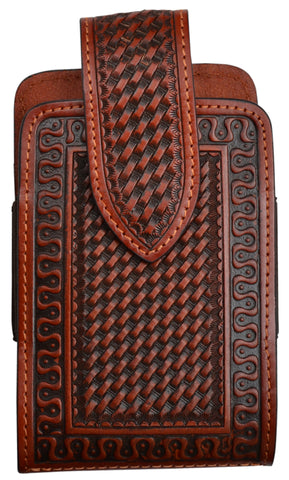 3D Tan Leather Smartphone Holder Basketweave
