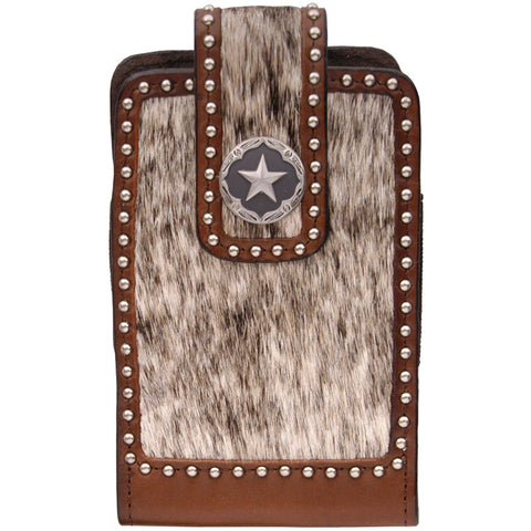 3D Brown Leather Smartphone Holder Hair On Inlay Silver Studs