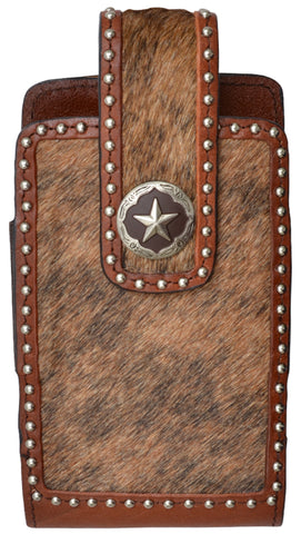 3D Brown Leather Unisex Smartphone Holder Hair-on