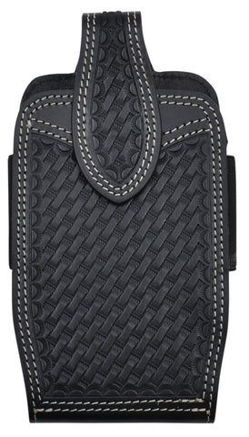 3D Black Leather Unisex Smartphone Holder Basketweave
