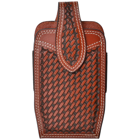 3D Tan Leather Smartphone Holder Basketweave Hand Tooled