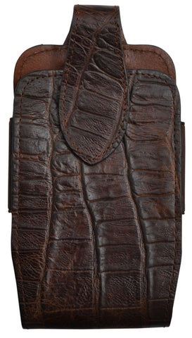 3D Chocolate Brown Leather Smartphone Holder Gator Print