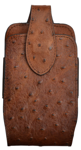 3D Brown Leather Smartphone Holder Ostrich Print