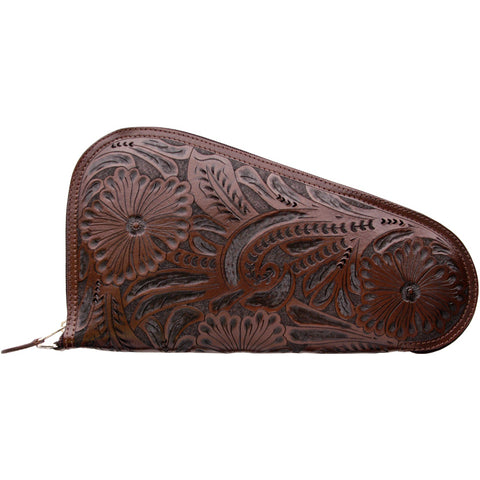 3D Chocolate Leather Pistol Case Floral Tooled Zipper