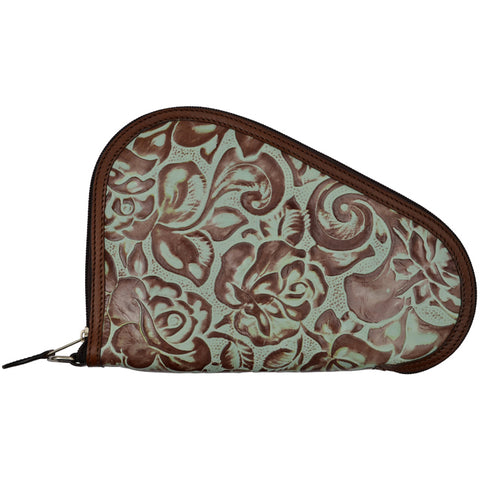 3D Turquoise Brown Leather Pistol Case Floral Tooled Zipper