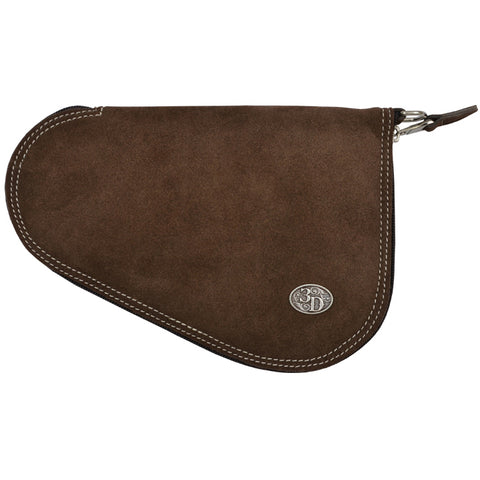 3D Chocolate Brown Leather Pistol Case Roughout Silver Concho