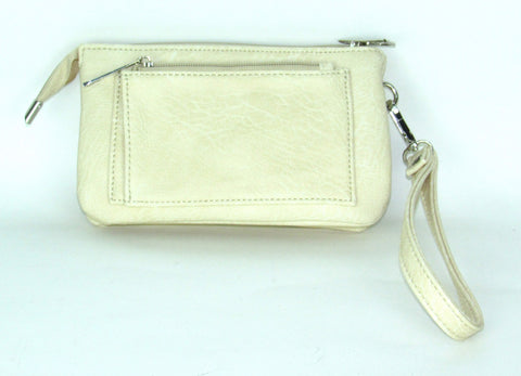 Savana Embossed Bone Faux Leather Wristlet Event Bag