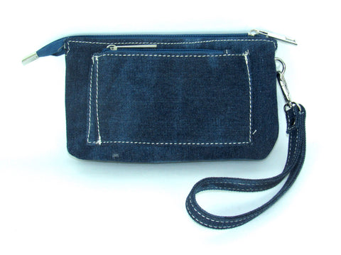 Savana Embossed Denim Faux Leather Wristlet Event Bag