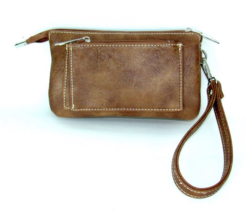 Savana Embossed Tan Faux Leather Wristlet Event Bag