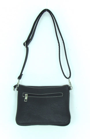 Savana Front Buckle Black Faux Leather Crossbody Bag
