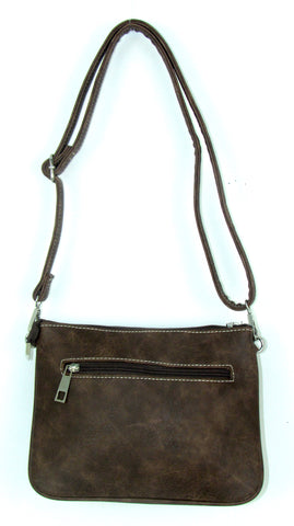 Savana Front Buckle Brown Faux Leather Crossbody Bag