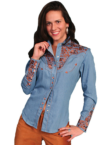 Scully Western Womens Blue Polyester L/S Floral Stitch Western Shirt