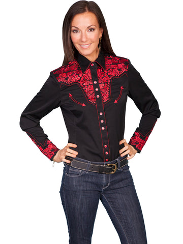 Scully Western Womens Crimson Polyester L/S Floral Stitch Western Shirt