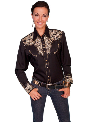 Scully Western Womens Gold Polyester L/S Floral Stitch Western Shirt