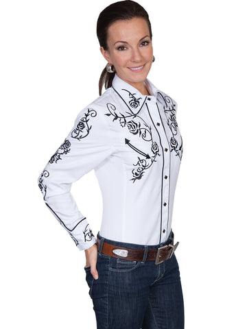 Scully Western Womens White Polyester L/S Rose & Vine Western Shirt
