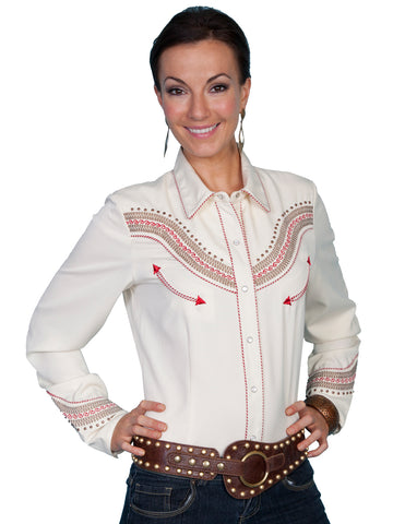Scully Western Womens Cream Polyester L/S Antique Stud Western Shirt