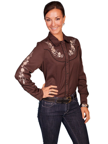 Scully Western Womens Chocolate Polyester L/S Floral Western Shirt