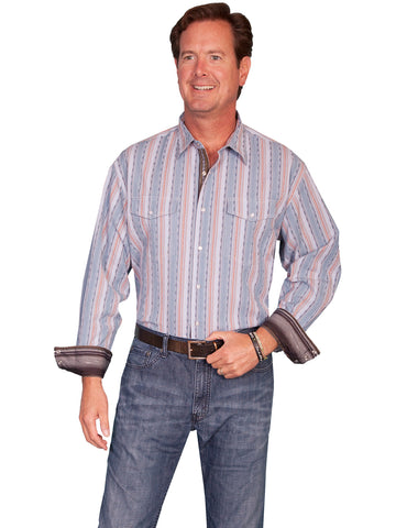 Scully Western Mens Blue Cotton Blend L/S Thick Stripe Western Shirt