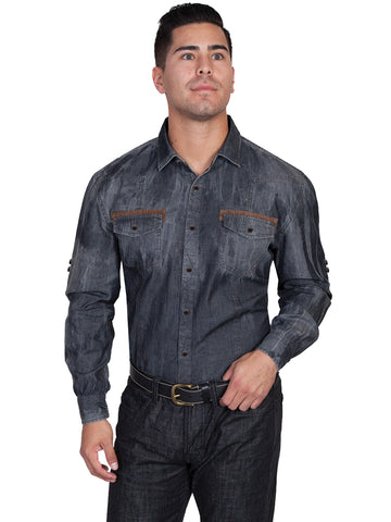 Scully Western Mens Charcoal 100% Cotton L/S Denim Western Shirt