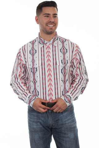Scully Mens Red/White/Blue 100% Cotton Southwest L/S Shirt