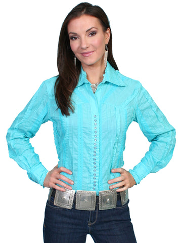 Scully Contemporary Womens Tonal Lace Blouse Blue 100% Cotton Western L/S