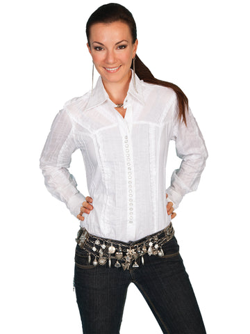 Scully Contemporary Womens Tonal Lace Blouse White 100% Cotton Western L/S