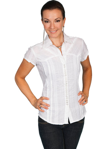Scully Contemporary Womens Tonal Lace Blouse White 100% Cotton Cap Sleeve