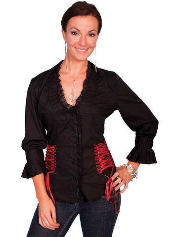 Scully Contemporary Womens Ruffle Blouse Black 100% Cotton 3/4 Sleeve