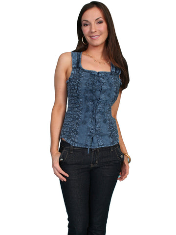 Scully Cantina Womens Dark Blue 100% Cotton Shirred Lace Up Tank Top