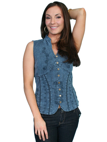 Scully Cantina Womens Dark Blue 100% Cotton Sleeveless Soutache Blouse