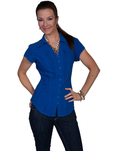 Scully Cantina Womens Dazzling Blue 100% Cotton Cap Sleeve Vine Blouse