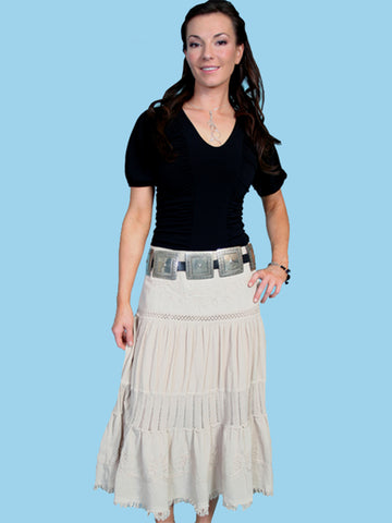 Scully Cantina Collection Skirt Khaki 100% Cotton Crochet Panel Mid-Calf