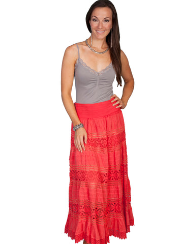 Scully Cantina Collection Skirt Coral 100% Cotton Tier Crochet Panel