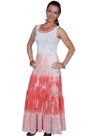 Scully Cantina Womens Coral 100% Cotton Full Length Tie Dye Skirt