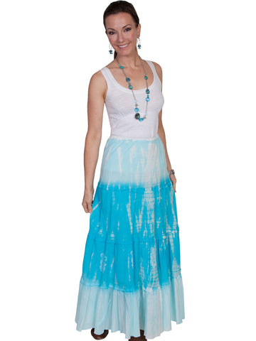 Scully Cantina Womens Turquoise 100% Cotton Full Length Tie Dye Skirt